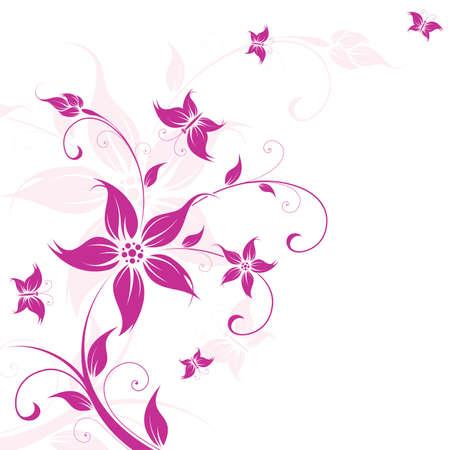papillon rose: R�sum� des informations avec des fleurs et de papillons pour votre conception  Illustration