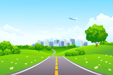 Landscape - green hills with tree cityscape cloudscape and airplane Stock Vector - 6821773