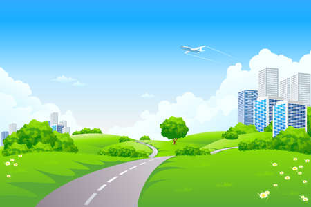 Landscape - green hills with tree cityscape cloudscape and airplane Stock Vector - 6821763