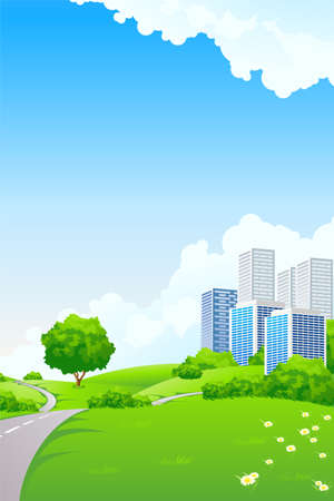 Landscape - green hills with tree cityscape cloudscape and airplane Vector