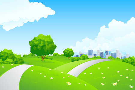 Landscape - green hills with tree cityscape and cloudscape Illustration