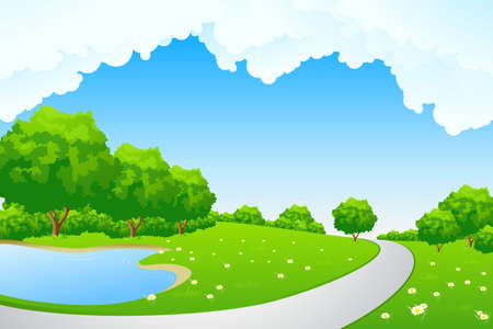 Landscape - green hill with tree lake and cloudscape Vector