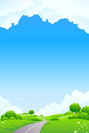 Landscape - green hill with tree road and cloudscape Vector