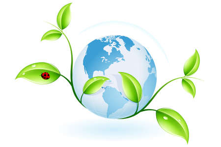renewal: Green ecology concept with plant and globe for your design