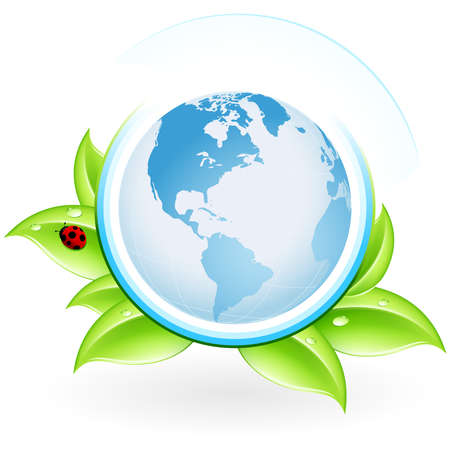 Green ecology icon with leaves and globe for your design Vector