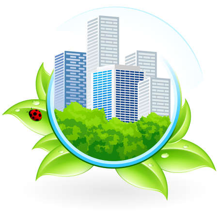 highrise: Green ecology icon with leaves and City for your design