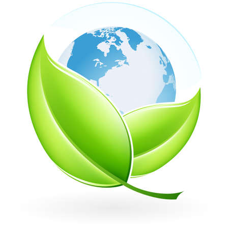 durable: Green ecology icon with leaves and Earth for your design Illustration