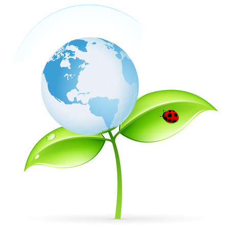 Green ecology icon with leaves and globe for your design Illustration