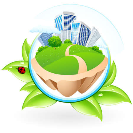 city view: Green ecology icon with leaves and City for your design