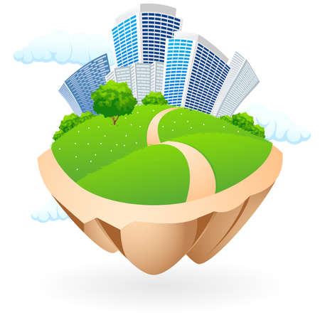 green land: Abstract Icon with clouds and City for your design