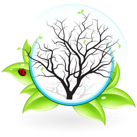 Green ecology icon with leaves and Tree for your design Vector