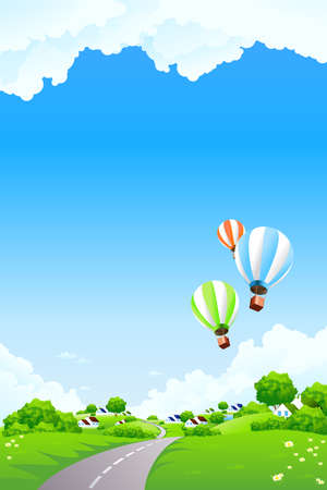 Summer Landscape with blue sky trees flowers small village clouds and balloons Vector