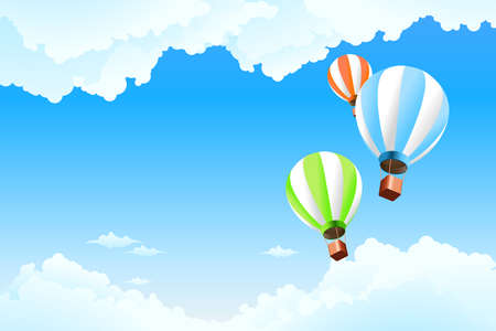 scenic background: Balloon in the sky with clouds for Your design