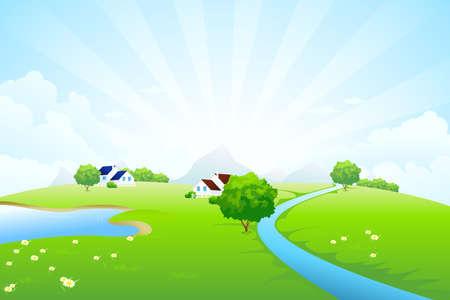 mountain meadow: Verde paisaje con el �rbol de Lago r�o casa monta�as nubes y rayos