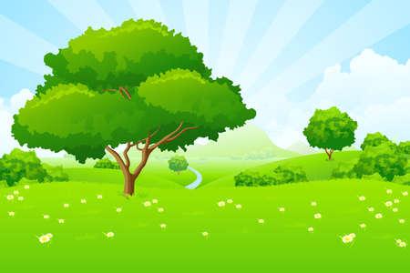 felder: Baum-Landschaft mit blauer Himmel Berge Blumen und Wolken  Illustration