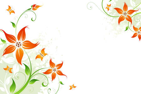 Abstract grunge background with flowers and butterfly for your design Illustration
