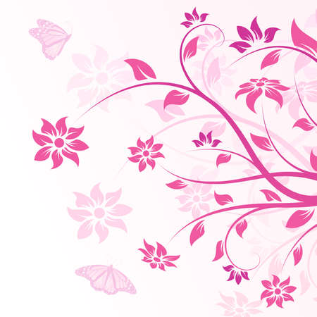 Abstract Background with flowers and butterfly for your design Vector
