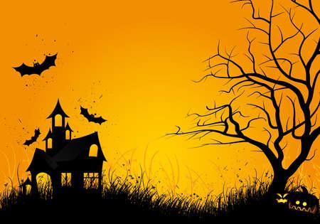 at bat: Fondo de noche de Halloween con el bate de árbol de calabaza y casa