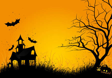 Halloween night background with tree pumpkin bat and house Illustration
