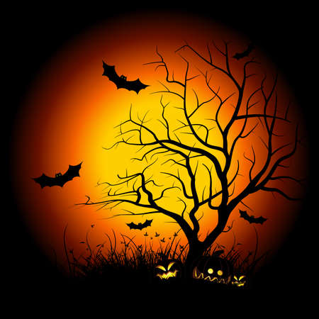 Halloween night background with tree pumpkin bat and grass Vector