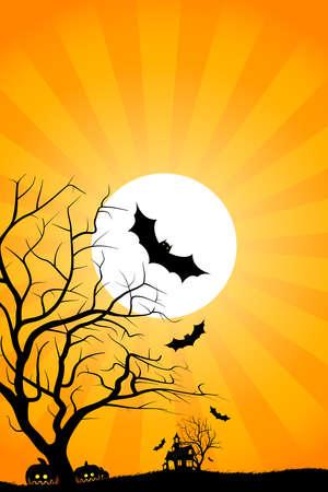 Fondo de noche de Halloween con el bate de Luna de casa en el árbol y la hierba  Vectores