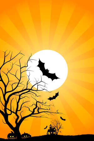 Halloween night background with tree house moon bat and grass