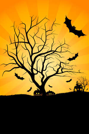 halloween cartoon: Halloween night background with tree pumpkin bat and house Illustration