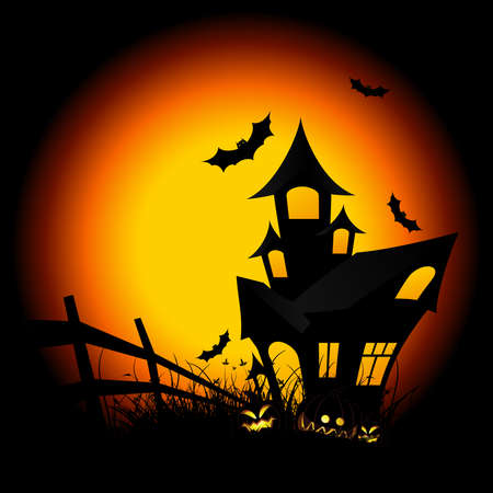Halloween night background with pumpkin bat and house Vector