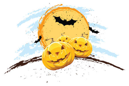 Grunge Halloween background with pumpkin bat and Sun Vector