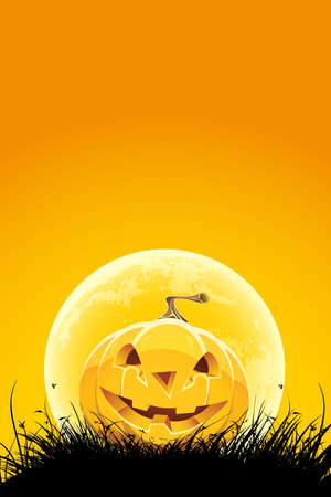 Halloween night background with pumpkin grass and moon