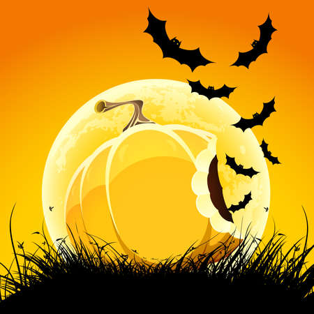 Halloween night background with pumpkin bat grass and moon Vector
