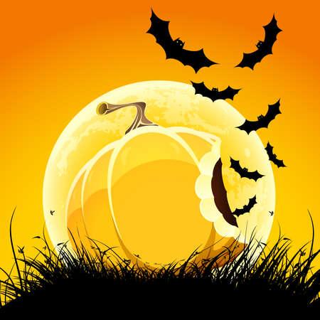 Halloween night background with pumpkin bat grass and moon Illustration