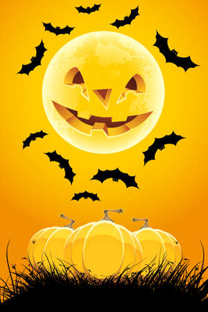 Halloween night background with pumpkin grass and moon Vector