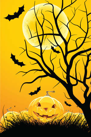 Halloween night background with tree moon pumpkin bat and grass Vector