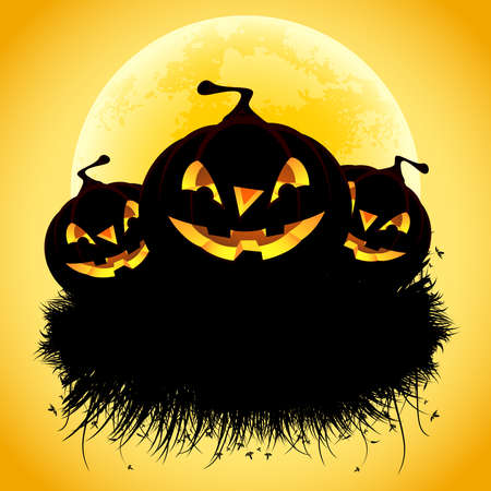 Halloween black ad background with grass and pumpkin Stock Vector - 7824408