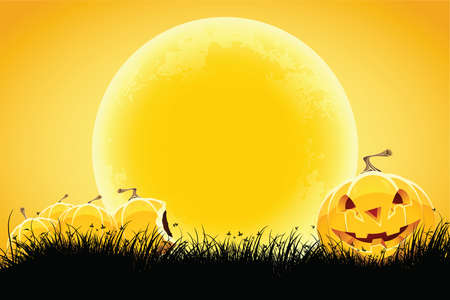 Halloween black and orange background with grass moon and pumpkin Vector