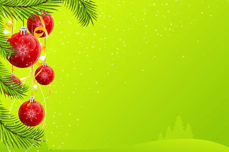 Abstract Christmas background with decorations and trees Vector