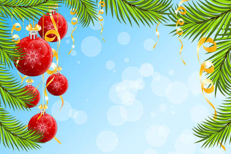 Christmas background with Christmas tree branch and Christmas Balls Vector
