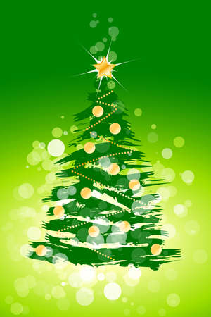 Christmas background with sparkles and Christmas tree for your design Vector