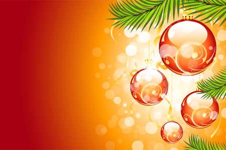 Arrière-plan de Noël avec paillettes et les boules de Noël pour votre conception