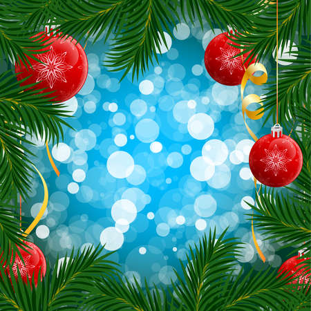 Christmas background with Christmas tree and balls for your design