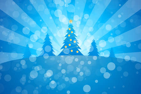 Winter Christmas trees with rays in blue color Vector