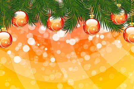 Illustration of christmas fir tree with baubles and sparkles on abstract background Stock Vector - 8327931