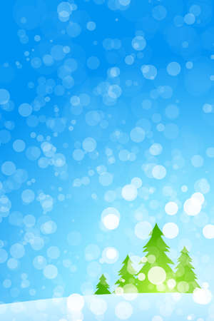 snowing: Winter Christmas trees with rays in blue color Illustration