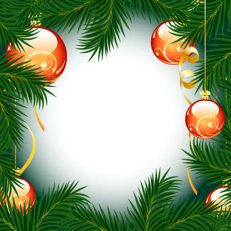 bright card: Illustration of christmas fir tree with baubles on white background Illustration