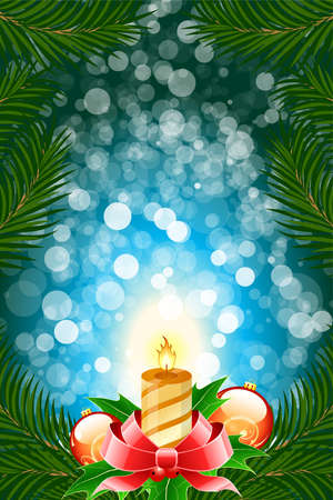 Winter Christmas card with balls and candle in blue color photo