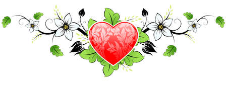 Abstract Floral Valentines day Heart with flowers