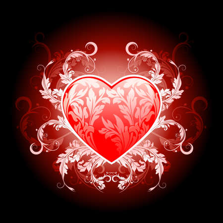 Vector Illustration Red Valentines Heart with Floral Pattern Stock Vector - 8592318