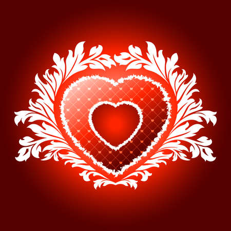 Vector Illustration Red Valentines Heart with Floral Pattern Vector