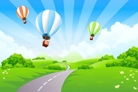 field and sky: Paesaggio verde, con montagne e nubi di palloncini